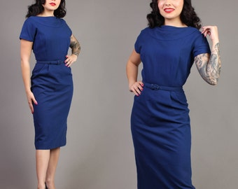 vintage NAUTICAL BLUE wool HOURGLASS wiggle pinup rockabilly secretary dress 1950s 50s small medium S M