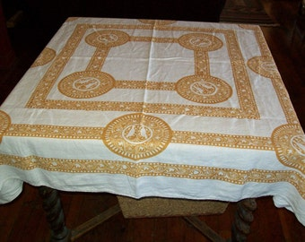 Vintage Linen Tablecloth - Gold Dove Print On White