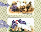 Easter Gift Tags, Easter Greetings, Two Designs, Farmhouse Style, Violets, Tags