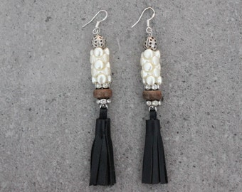 Trendy Black Leather Beaded Tassel Earrings with Pearls Crystal Caps and Wood on Sterling Silver 925 Earring Hooks