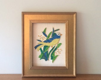 Pretty Vintage Framed Mosaic Bird Sand Art