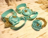 Barefoot Sandals and Bracelet gift set, glass pearl beaded Aqua Glitter Gold Fabric Rosette Flower, Baby girl first birthday outfit, newborn