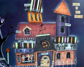 Spooky Town Mixed Media Collage Painting |Fantasy|Halloween Art