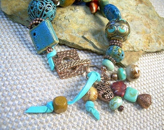 Turquoise Chunky Mixed Material Copper Bracelet With Ceramic Vintage And Metal Beads
