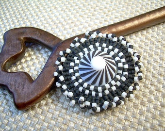 Beaded Button Vintage Brooch Harlequin Black And White Seed Beads