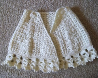 Shawl - Crochet Shoulder Wrap for Little Girls - 3-5 Year - Color Ivory