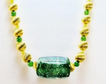 Lampwork Green Necklace