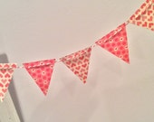Mini Valentine Cake Banner or Garland Shabby Chic Vintage Hearts