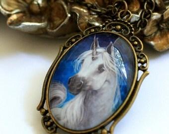 Tempest - Unicorn necklace - Gift for her - Horse fantasy art - Cameo pendant - Animal portrait - Blue - Glass tile Christmas Birthday WHOA