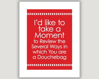 Douchebag, funny quote print, Charlie Wilson's War, Sorkin quote, movie quote print, funny dorm art, wall art, insult gift, slang, snark
