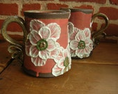 Ceramic Coffee Mug, Tea Cup, Large in  Dusk Rose with White Poppy Flowers and Black Mountain