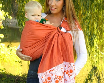 Linen Ring Sling Baby Carrier Baby Sling - Orange Fizz - Instructional DVD Included - FAST SHIPPING