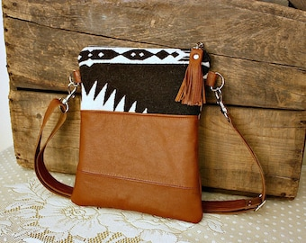 Crossbody Oregon Wool Purse with leather trim Navajo purse handbag Small purse---READY