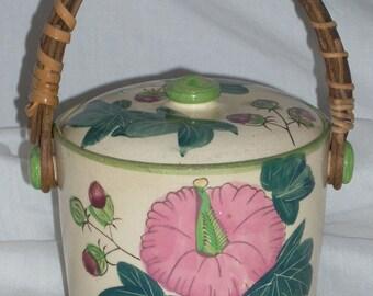 Vintage Ceramic Biscuit Jar Japan Hibiscus Flower Reed Rattan Handle