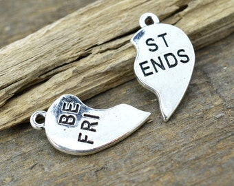 Best friends Charm, 12 Sets, 20mm, Metal Charms, Jewelry Charms, Friendship Charms, Antique Silver -C752