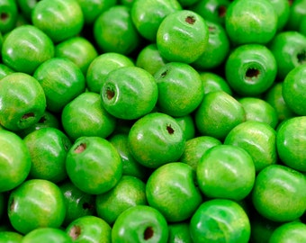Green Wood Beads,  14mm,   Round Wooden  Beads, 125pcs,  Green Beads -B487