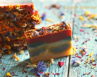Summer Blossoms organic Soap. All Natural Vegan soap with floral heart. Handmade from scratch. SALE