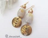 Gold Agate Earrings, Natural Stone Earrings, Brass Earrings, Bohemian Tribal Earrings, Boho Chic Jewelry, Dangle Earrings, Handmade Jewelry