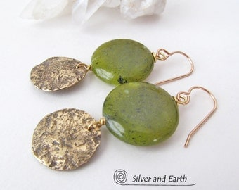 Green Jade Earrings, Gold Dangle Earrings, Hammered Brass Earrings, Natural Stone, Spring Jewelry, Green Earrings, Earthy Natural Jewelry