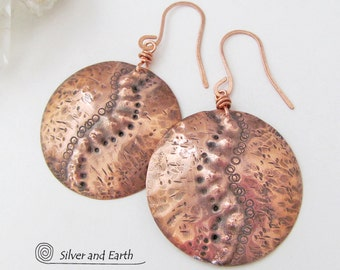 Hammered Copper Earrings Large Round Dangle Earrings Textured Metal Earrings Artisan Handmade Bohemian Tribal Earthy Natural Modern Jewelry