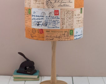 Postcards lampshade, vintage collection of striking postcards