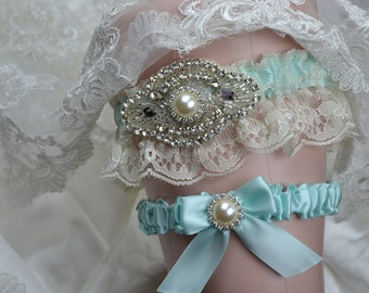 Wedding Garter Set Aqua Blue With Ivory Chantilly Lace And Rhinestone Embellishment