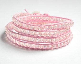 Wrap Bracelet- Pink Crystal Wrap Bracelet - Beaded Crystal 4 Wrap Bracelet With Shell Button Clasp - Wrap Bracelet