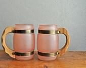 Vintage Frosted Siestaware Brand Mug Set Frosted Pink Drink Glasses/ Tiki Bar/ Mid century