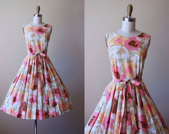 50s Dress - Vintage 1950s 1960s Dress - Peach Cocoa Full Skirt Belted Sundress XS - Etta Dress