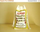 Kellogg's Corn Flakes vinyl tote bag, drawstring beach bag, sewing or knitting bag, breakfast cereal giveaway, ad premium, new old stock