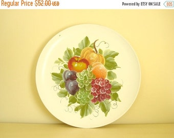 Flowered tray, huge toleware metal tray, 20 inch white hand painted tray, hangs on wall, fruits grapes & leaves, green, plum, orange