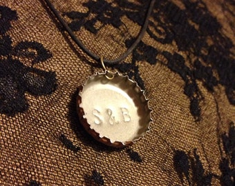 Sweethearts' Bottle Cap Initials- hand stamped necklace or keychain
