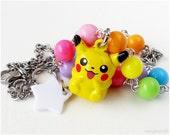 Pikachu Bell Charm Necklace, Beaded Chain, Colorful, Kawaii, Harajuku, Decora, Gamer Girl, Pokemon Jewelry