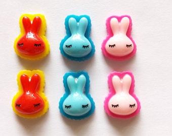 20 pcs Cute Rabbit Cabochon Flatback Decoration Size 15mm X 20mm