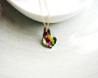 Rainbow Crystal Necklace, Gold Filled Necklace, Baroque Crystal Necklace, Prismatic Jewel, Minimalist Modern Bridal Jewelry