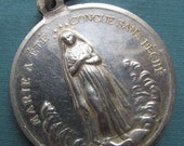 Virgin Mary Sacred Heart Antique French 800 Silver Religious Medal SS487