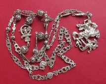 Saint George And The Dragon Antique Religious Necklace 800 Silver Fratelli Coppini Jewelry  S