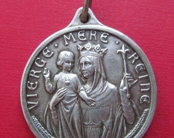 Virgin Mary Queen Mother Madonna Religious Medal IHS Pendant  SS53