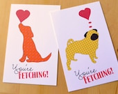 Love Notes Mini Valentine's Day Cards - You're Fetching Dog Card Valentines - Kids Valentines - Set of 8 Mini Valentines can be sent by mail