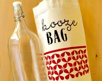Booze Bag Tote - Recycled Canvas Beverage Bag - Hand-Stenciled Ecobag - Housewarming Gift Bag - Hand-painted Gift - Spirits Tote Bag