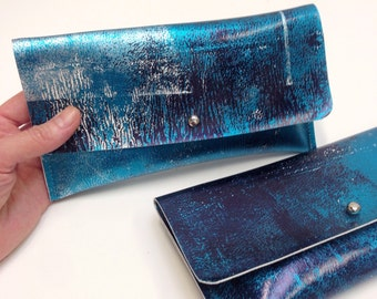 SALE Metallic Silver Handprinted Leather Purse Mini Clutch