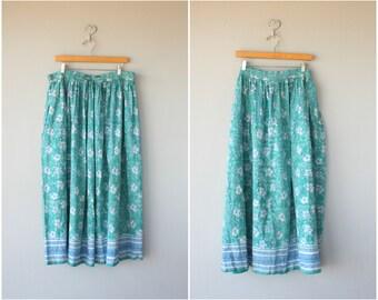 Vintage Indian Cotton Skirt | Printed Cotton Skirt | Vintage Maxi Skirt | Border Print Skirt | Festival Skirt | Bohemian Skirt