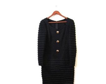 BTS SALE Vintage 80s Black Fitted Avant Garde Body Con Mini Dress medium