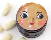Doll Face Pill Box - Retro Doll Non Toxic Vitamin Box - Doll Tooth Fairy Container - Doll Face Powder Box