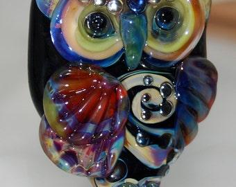 "Large accent Focal Glass Owl Lampwork Bead  ""Gaia"" -  SRA"