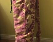 Pink Fleur De Leis Upholstery Yoga Mat Bag