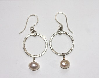 pearl and sterling hoops
