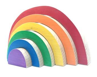wooden rainbow stacker bold rainbow nesting toy jumbo stacking rainbow
