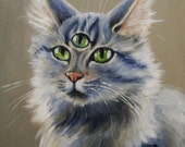 Fluffy - original painting by Kellie Marian Hill