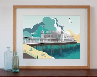 Modern Retro Art Print of Brighton Pier, Brighton, UK